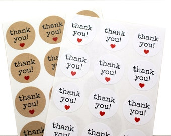 THANK YOU labels with red heart - typewriter font labels- circle thank you stickers - packaging stickers, with thanks, thank you cards