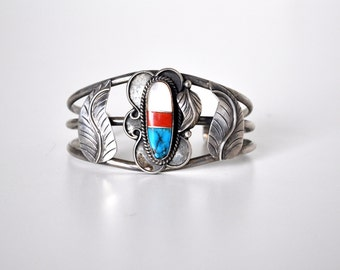 Native American Sterling Turquoise and Coral Cuff Bracelet