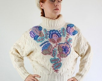 SALE - Vintage  Cream Embroidered Cable Knit Wool Sweater