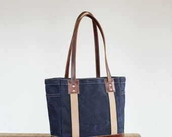 Carry Tote in Navy Waxed Canvas & Brown Leather
