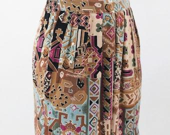tribal shorts - 80s/90s tribal print rayon high waist shorts - aztec shorts