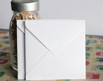 White Square Envelope, Various Square Envelope Sizes, Set of 12