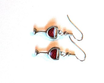 Red Wine Glass Dangle Earrings - Charms - Surgical Steel Earwires - Unique Wine Lover Gift Under 10, 20, 25