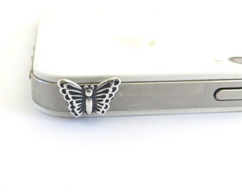 Butterfly iPhone and CellPhone Dust Plug- Sterling Silver Ox or Antiqued Brass Ox Finish