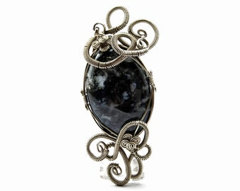 Agate Pendant, Moss Green Pendant, Wire Wrap Pendant, Silver Pendant, Gemstone Pendant, Green Agate Necklace, Art Nouveau