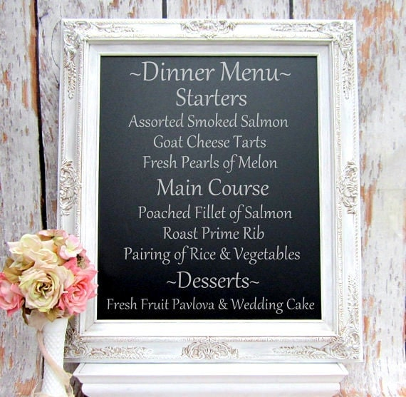 "WEDDING CHALKBOARD SIGN Magnetic Table Top 31""x27""- AtTACHED StAND- Standing Menu Board Woodland Wedding Table Top Chalkboard Menu Vintage"