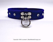 BDSM Collar Single Ring RHINESTONE Riveted SUEDE Leather in Royal Blue, Black, Red, Purple, White or Baby Pink Lockable