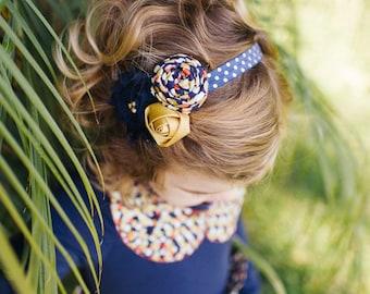 Gilded Dream- navy gold and tangerine polka dot rosette and chiffon flower headband
