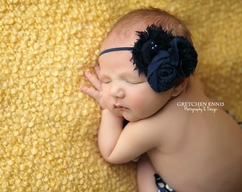 Nothing But Navy- Simple Solids Collection rosette abd bloom headband