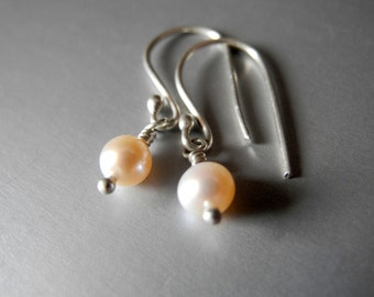 Freshwater Pearl Tiny Earrings Pink Gold Sterling Silver Wedding Bridal Minimalist