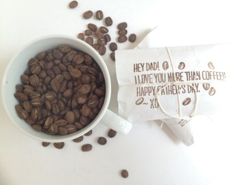 Father's Day Coffee Gift Set.  Unique father's day card. Freshly roasted coffee. Set of three. Ready to ship.