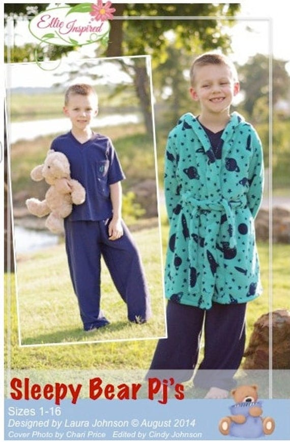 Sleepy Bear Pjs - Ellie Inspired PDF Pattern Size 1 - Size 16 Pajamas and Robe