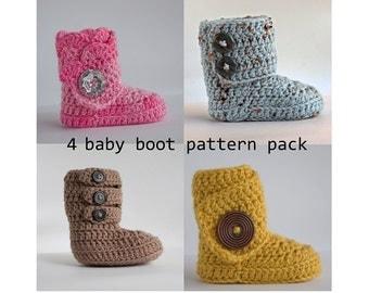 4 Baby Boot Crochet Pattern Pack - PDF