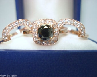 Fancy Black Diamond Engagement Ring and Wedding and Anniversary Band Sets 14K Rose Gold Bridal Handmade 1.57 Carat