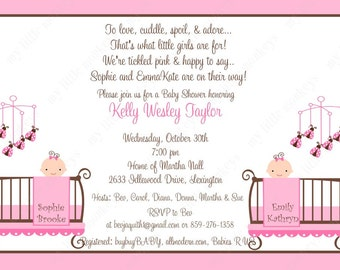 10 Twin Girl Baby Shower Invitations with Envelopes.  Free Return Address Labels