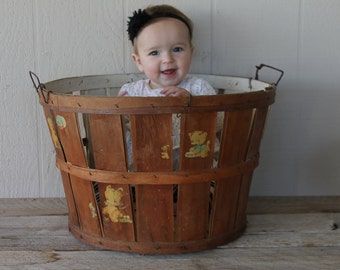 Antique Bushel Basket, Nursery Decor, Antique Baby