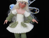 "OOAK  polymer clay art doll, ""Mint Julep"", pixie, fairy, sprite, fae, gnome by Lori Platt of The Pixie Knoll"