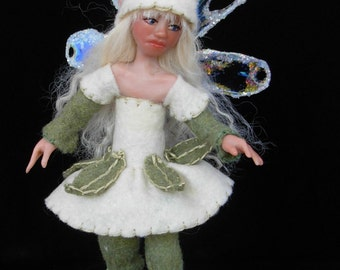 "OOAK  polymer clay art doll, ""Mint Julep"", pixie, fairy, sprite, fae, gnome by Lori Platt of The Pixie Knoll"