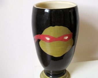 TMNT Cup - Raphael - Handmade Stoneware, ready to ship