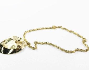 Celebrity NY Statement Gold Tone Necklace Giant Pendant 1970s Jewelry
