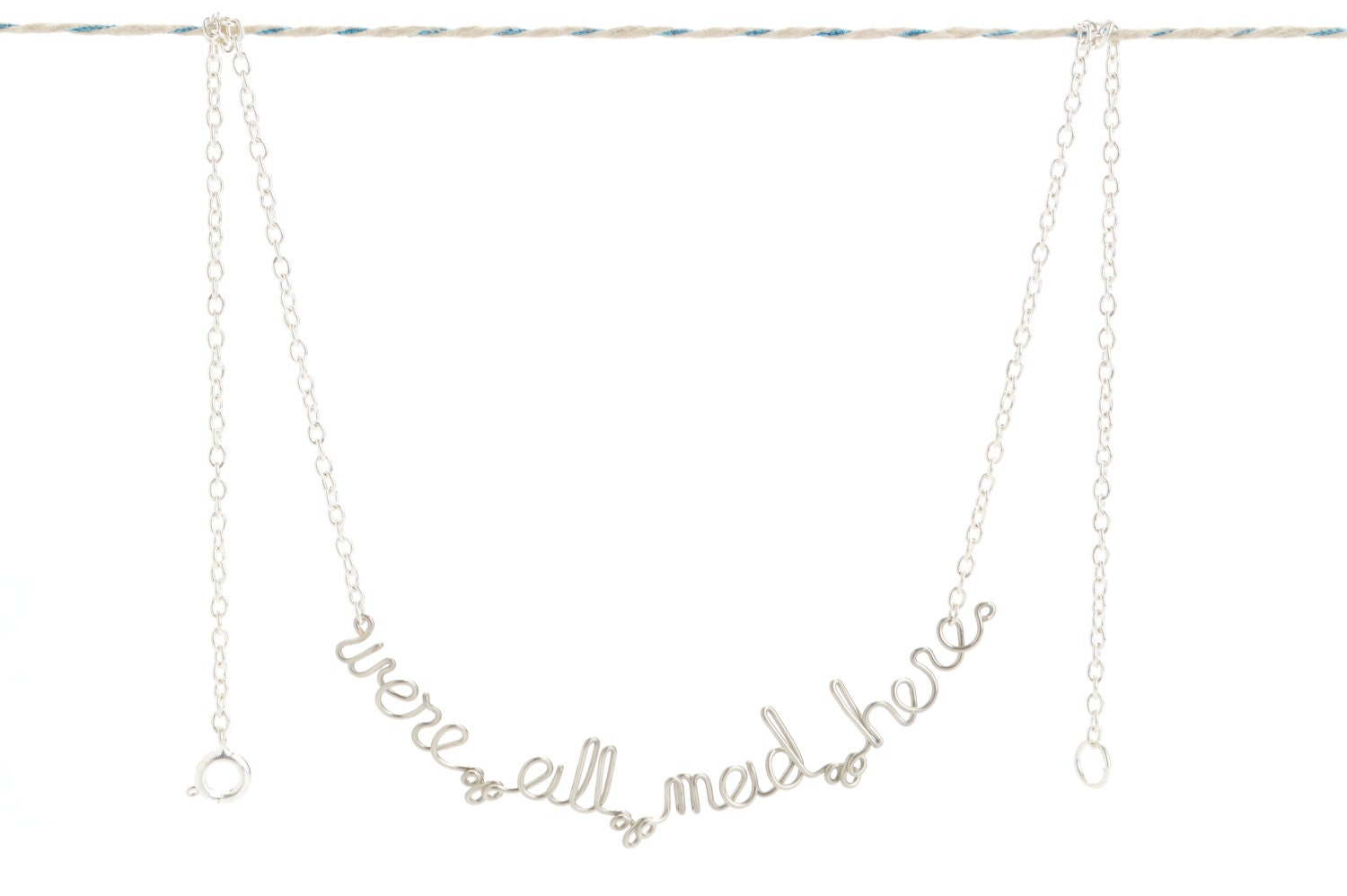 We're All Mad Here Necklace - Alice in Wonderland Quote Jewelry - We Are All Mad Here