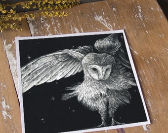 Nocturnal Barn Owl  - ECO Limited Edition Archival Print