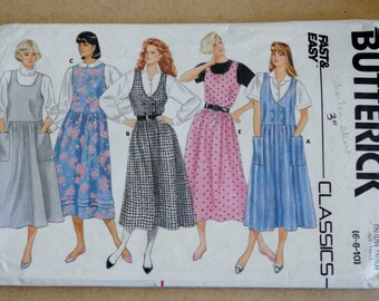 Vintage Sewing Pattern, Butterick 3961, 80s Jumper Dress, 80s Sewing Pattern, 80s Jumper Sewing Pattern, Dress Sewing Pattern, XS