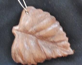 Aspen leaf made of walnut