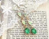 Moonstone Mint, Vintage Mint Green Moonstone and Peridot Rhinestone Vintage Glass Dangle Earrings