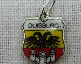 Duisburg Germany Silver Charm or Pendant with Enamel