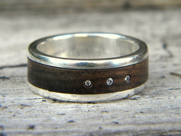 mens ring wood and silver wood ring rustic wedding
