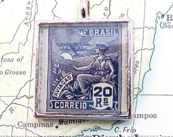 Vintage Brazil South America Postage Air Mail Stamp Necklace Pendant Key Ring