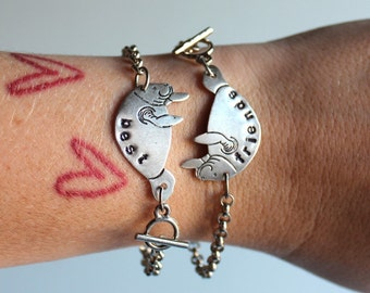 best friends manatee bracelet set - silver personalized custom bff jewelry - best friend gift