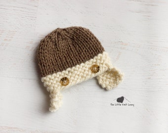 Little Knit Two Tone Aviator Hat for Baby, Adorable Photography Prop and Ready to Ship