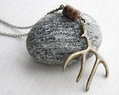 Deer Jewelry, Elk Antler Necklace. Woodland Jewelry. Antique Bronze or Silver. Rustic Wedding. Men Hunt Unisex.
