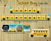 SCHOOL BUS Collection - DIY Printable Wheels on the Bus Party Decoration // Back to School Birthday Decoration // Yellow School Bus