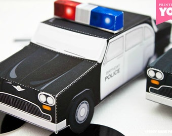 Police Car Favor Box : DIY Printable Cop Cruiser PDF - Instant Download