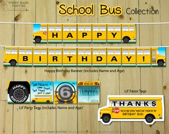 SCHOOL BUS Collection : Print at Home Wheels on the Bus Party Decoration | Back to School Birthday | Yellow School Bus | Digital Files
