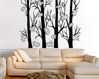 Vinyl Wall Decal Sticker Trees With Autumn Leaves 5351s