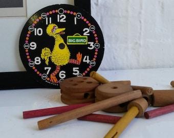 1970s Vintage Big Bird Alarm Clock Watch Face - Sesame Street Muppets Steampunk DYI
