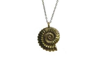 Brass Ammonite pendant, nautical jewelry, swirled pendant