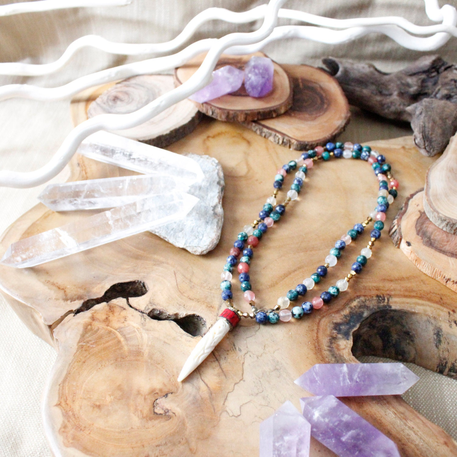 Blue Green Pink Marble Tusk Necklace/ Beaded Summer Fashion/ Bohemian Indie Hippie Gypsy/ Beaded Blue Pink Green Tusk Horn Tooth Festival