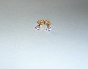 Genuine Natural Tanzanite 14K Solid Gold Earrings Studs