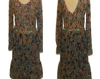 Vintage Valentina Multiclr See Thru Sheer Sequins Beads Embellish Hippie Boho Disco Ruffle Tier Smocking Dress