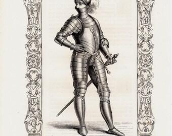 1859 Amazing Antique KNIGHT  print.  Armored soldier,  Original antique costume print