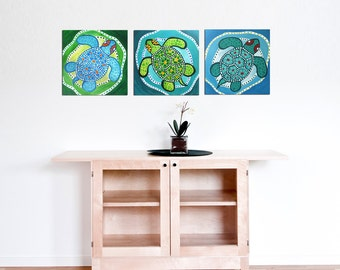 Turtle Art, 3 FUNKY TURTLES, Set of 3 12x12 Acryic Canvas Paintings for Home,Office Decor, Beach house decor