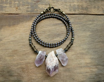 Rough Amethyst Crystal Necklace, rustic purple amethyst point Bohemian tribal gemstone statement necklace, natural crystal