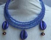 Purple cowry shell chocker necklace 3tier spiro