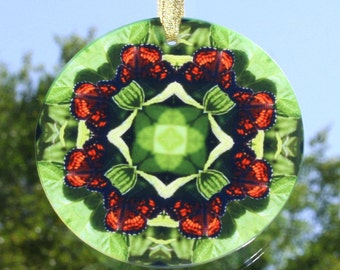 Butterfly Glass Suncatcher Boho Chic Mandala New Age  Sacred Geometry Hippie Kaleidoscope Mod Unique Gift For Her On a Wing and a Prayer