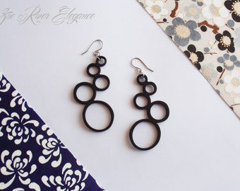 Lightweight black circle earrings low shipping! made from laser cut wood